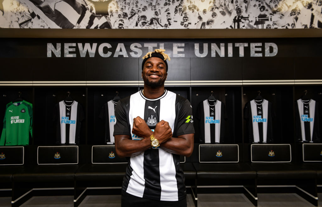 New Newcastle signing Allan Saint-Maximin smiles as he is announced as an NUFC player.
