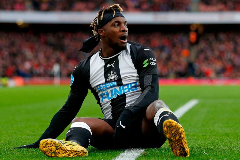 Newcastle United's French midfielder Allan Saint-Maximin reacts