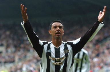 Nolberto Solano of Newcastle United cele