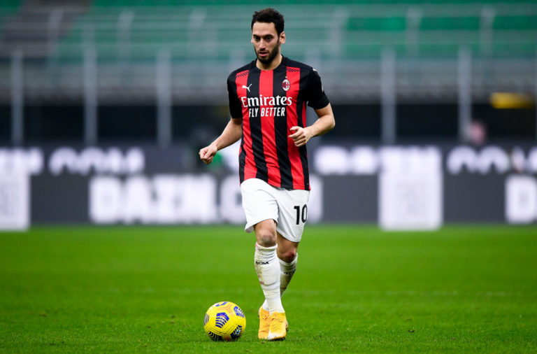 Hakan Calhanoglu of AC Milan in action during the Serie A