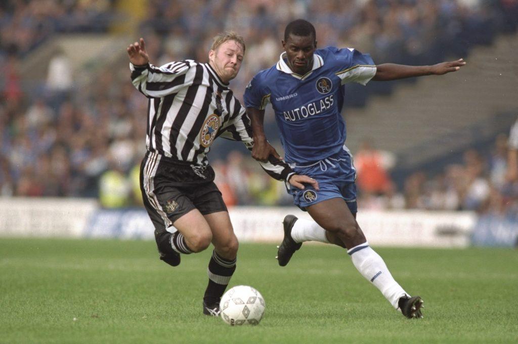 David Batty of Newcastle and Bernard Cambourde of Chelsea