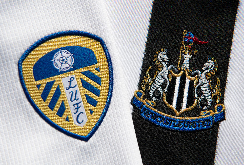The Leeds United and Newcastle United Club Badges