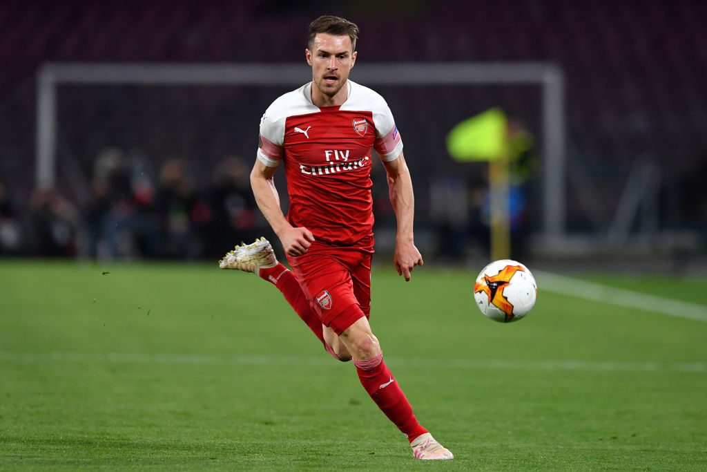 Aaron Ramsey of Arsenal in action during the Uefa Europa