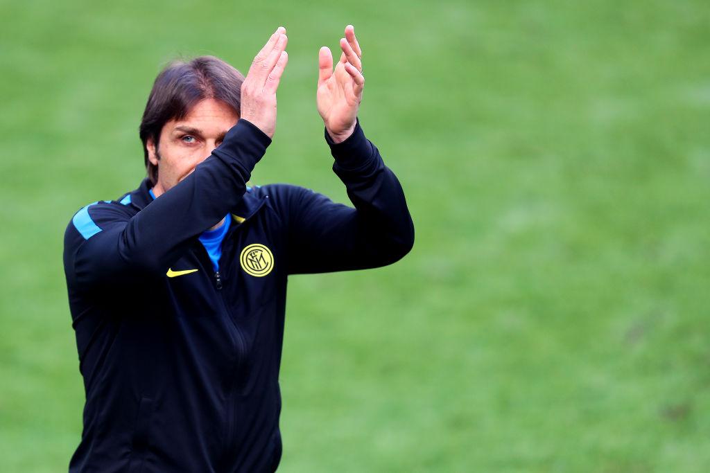 Antonio Conte, head coach of Fc Internazionale,  celebrates